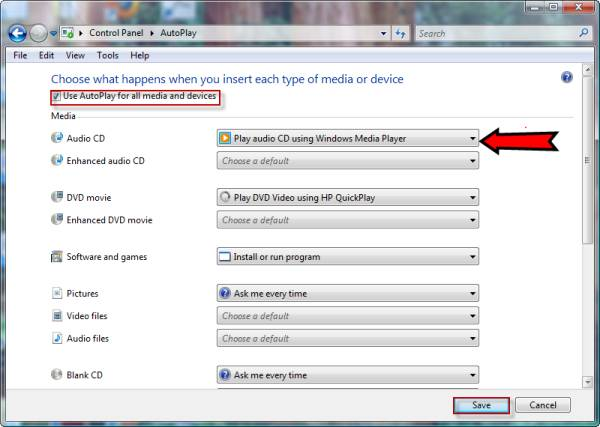disable autoplay windows 7