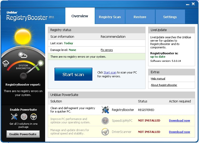 registry booster home screen